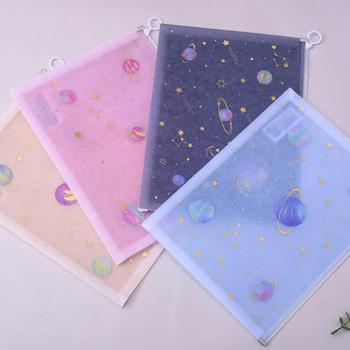 1PC Kawaii Creative Starry Sky A4 PP Fabric File Folder Bag Document Paper Organizer Storage Bags School Office Stationery