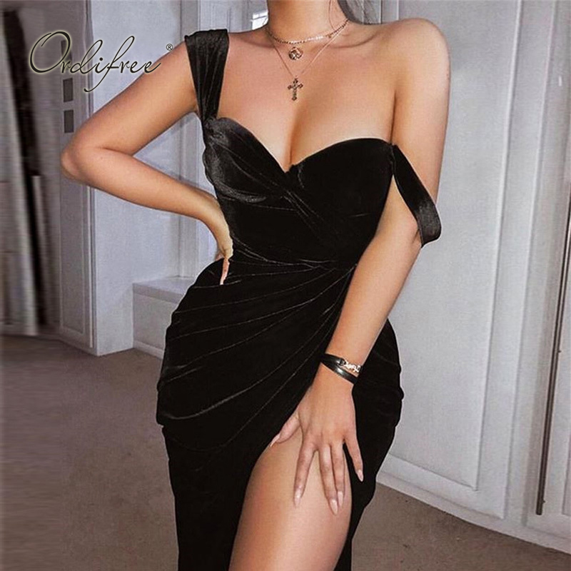 Ordifree <font><b>2019</b></font> <font><b>Summer</b></font> Women <font><b>Sexy</b></font> <font><b>Bodycon</b></font> Velvet <font><b>Dress</b></font> Club Wear Spaghetti Strap Off Shoulder Slit <font><b>Black</b></font> <font><b>Dress</b></font> image