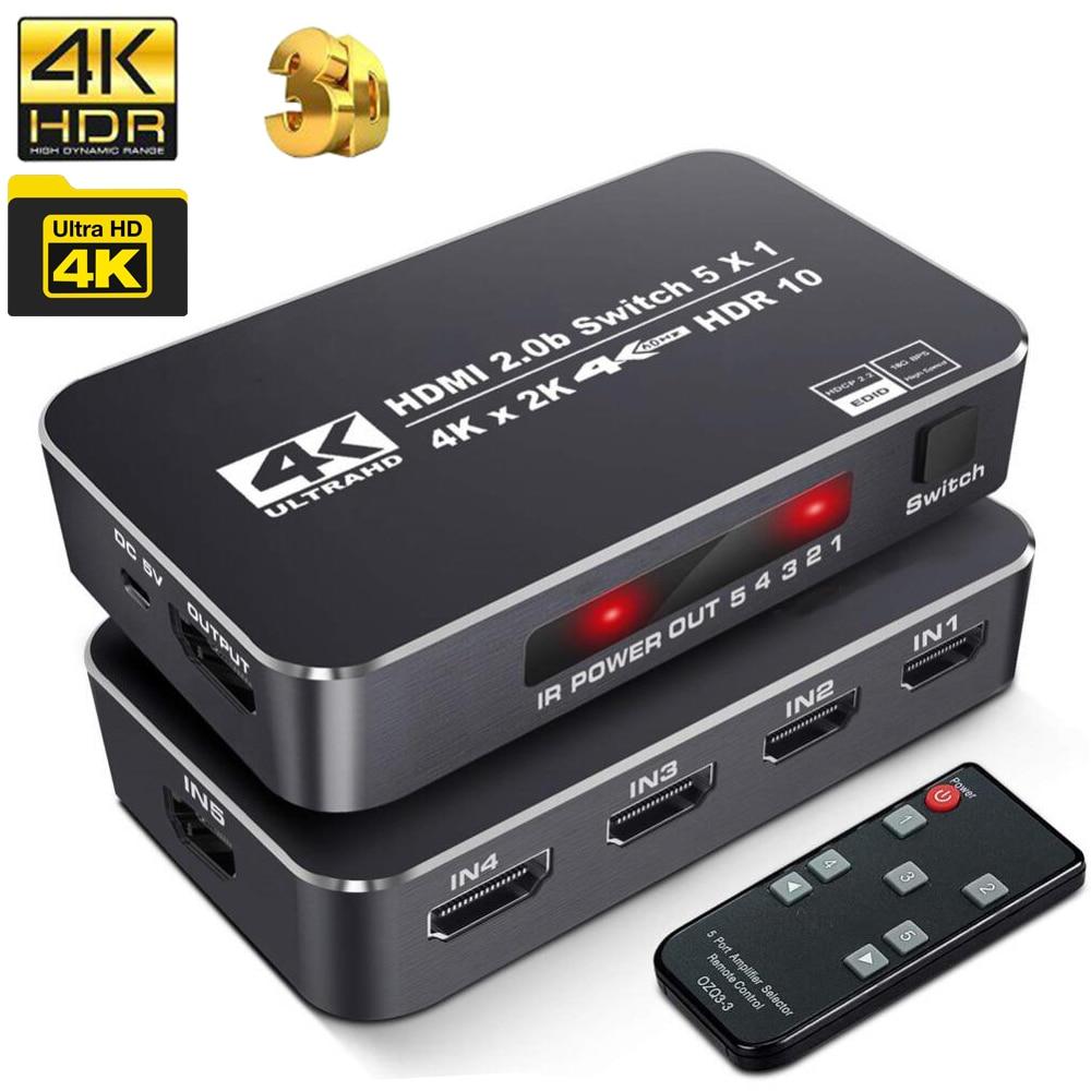 UHD HDMI 2,0 переключатель HDR 5 в 1 4k 60Hz HDMI Коммутатор Концентратор коробка селектор 3 в 1 HDMI 2,0 HDCP 2,2 HDR для PS4 pro apple TV 5G и т. Д.