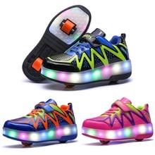 Детская одежда, для мальчиков и девочек Светодиодный проблесковый Серебристые напольный светильник обувь два колеса для роликовых коньках обувь № 4 Дети спортивная обувь в качестве подарка