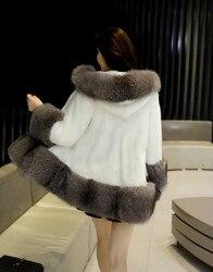 Top Quality 100% Real Mink Fur Coat With Fox Fur Collar Winter Luxury Warm Jackets Women Thickening XRK-12 MF288