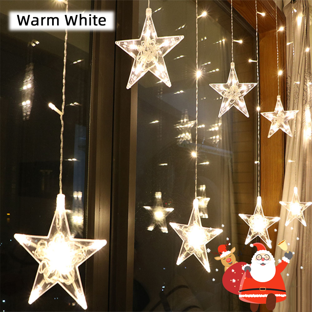 2.5M LED Star Christmas Garland Curtain Light 220V Outdoor/Indoor String Fairy Lights For Wedding Holiday Party New Year Decor