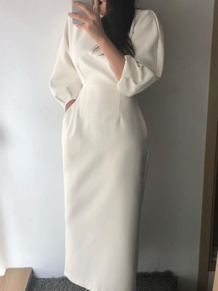 Midi Dress Vestidos Slim Fashion Sexy Solid-Color Elegant Ladies