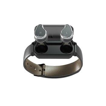 MOOL T89 TWS Smart Binaural Bluetooth Headphone Fitness Bracelet Heart Rate Monitor Smart Wristband Sport Watch Men Women Black