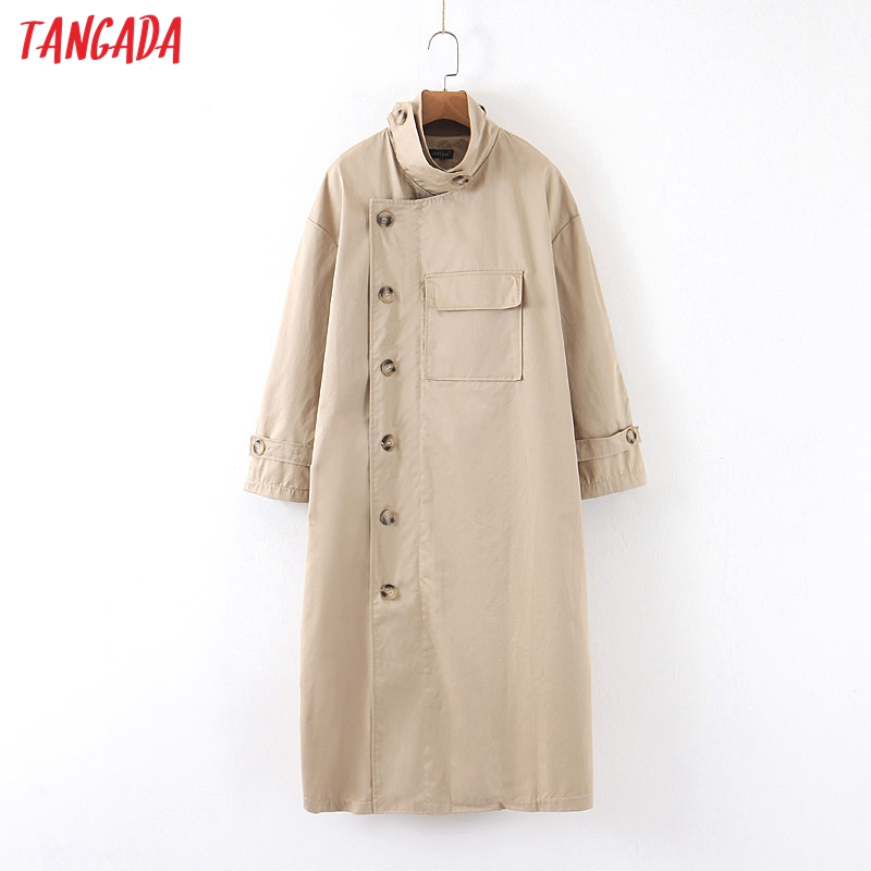 Tangada Women Solid Long Trench Coat Elegant Oversized 2019 Buttons Long Sleeve Office Ladies Work Wear Loose Outwear SP13