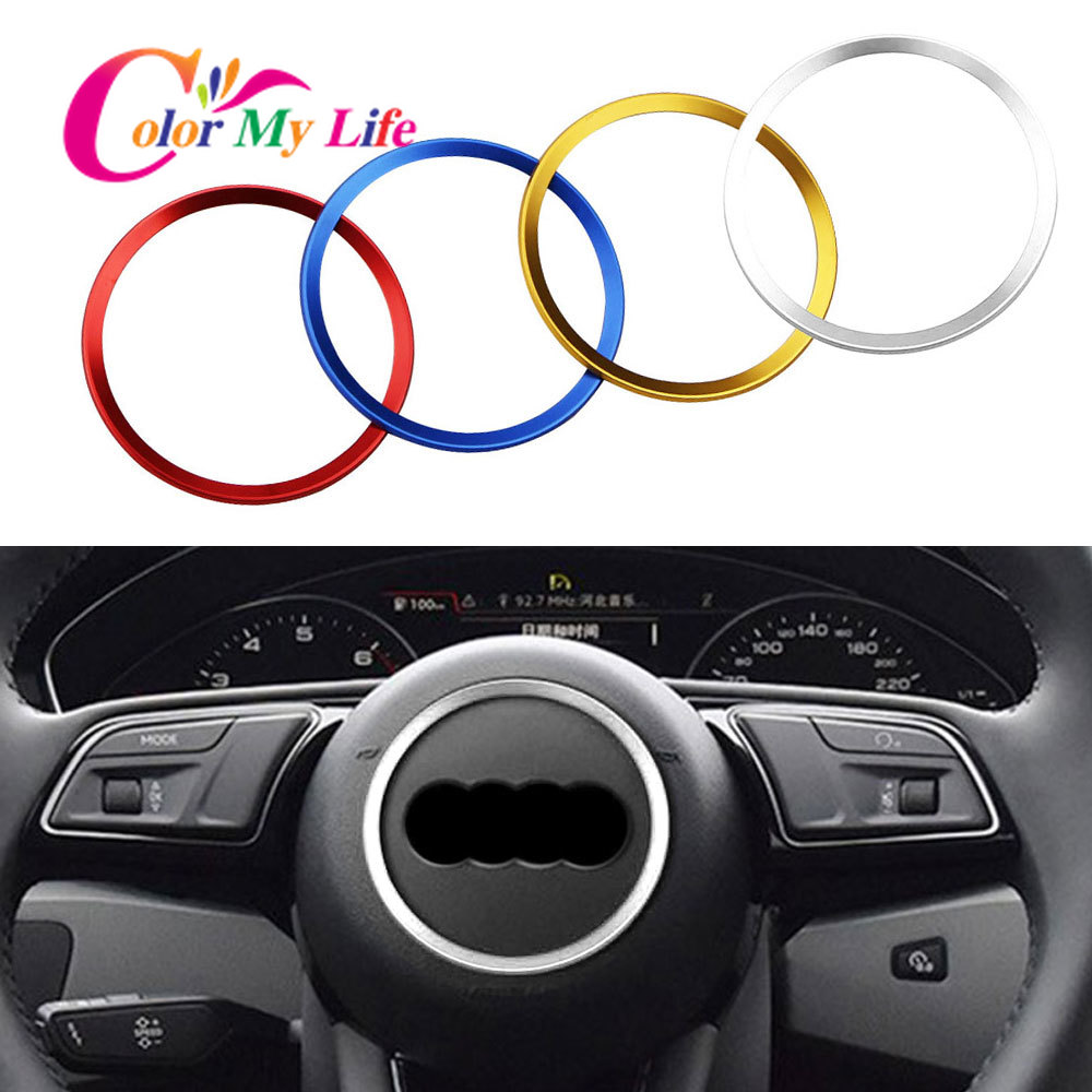 Color My Life Aluminum Alloy Car Steering Wheel Ring Stickers Decals Fit For Audi A3 A4 Q3 Q5 A5 A6 Automobiles Accessories