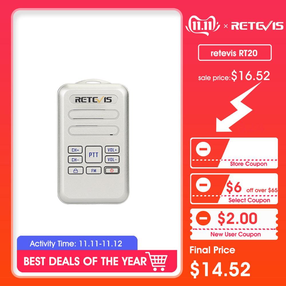 Retevis RT20 Mini Walkie Talkie 2W UHF 400-470MHz 16CH FM Encryption Handheld Business Radio Walkie-Talkie VOX TOT Comunicador