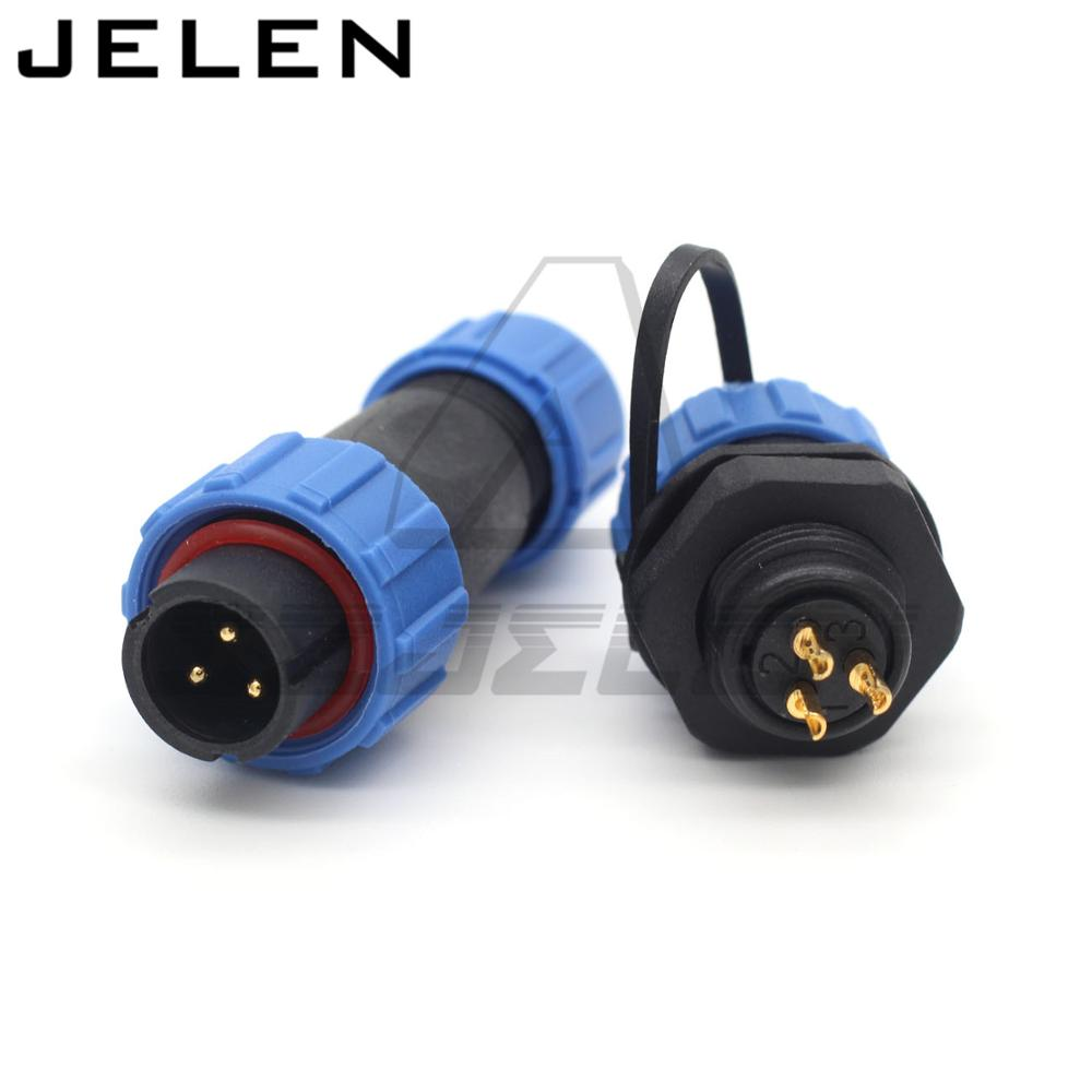 <font><b>SP13</b></font> 3pin waterproof aviation connector plug socket,IP68, 3 pin wire connector,Insulation waterproof male female connector image