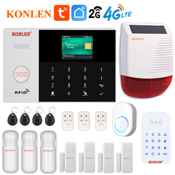 Tuya Smart Leben WIFI GSM Alarm Systeme 4G 3G 2G Secuity Home Haus Anti Theft Control Panel drahtlose Verdrahtete Tür Motion Sensor