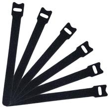 50 шт. многоразовые крепления кабельные стяжки, 6-дюймовый крюк и петля шнур Галстуки, черный