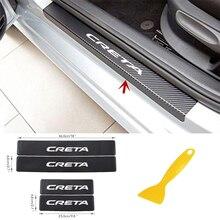 คาร์บอนไฟเบอร์ป้องกันสติ๊กเกอร์สำหรับHyundai Cretaรถอุปกรณ์ตกแต่งภายในประตูSill Scuffยินดีต้อนรับPedalเกณฑ์