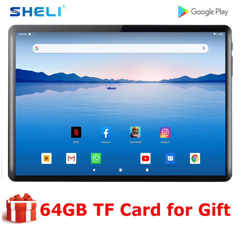 2020 New 10 Inch Android 9.0 Tablet Quad Core 2G RAM 32G ROM Tablets 1280*800 IPS LCD Dual SIM Card 3G Tablet Pc With Free Gifts