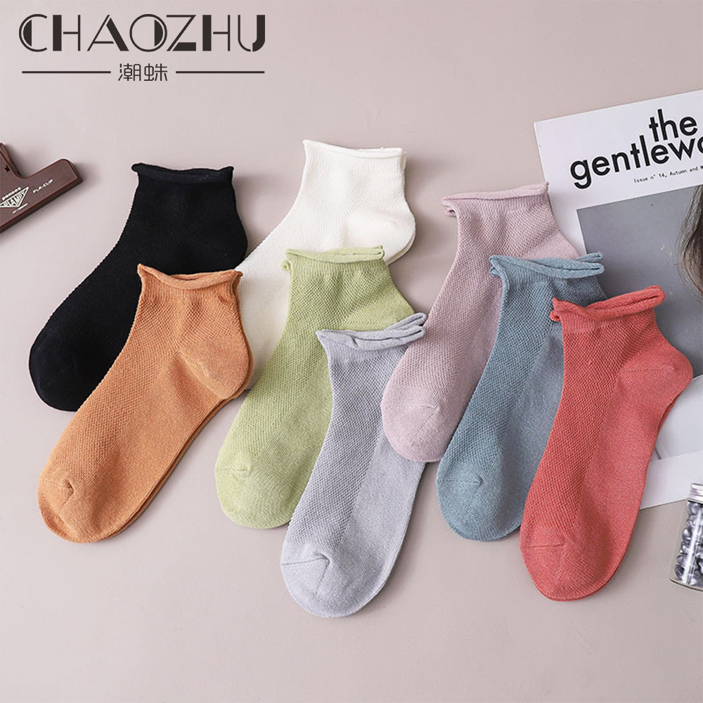 CHAOZHU 2020 New Spring Summer Breathable Fishnet Rolling Top Soft Cotton Women Socks 8 Colors Fashion Sneaker Girls Student Sox