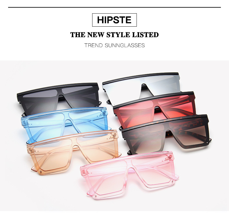 Oversized Square Sunglasses Women 2019 Luxury Brand Fashion Flat Top Red Black Clear Lens One Piece Men Gafas Shade Mirror UV400 (4)