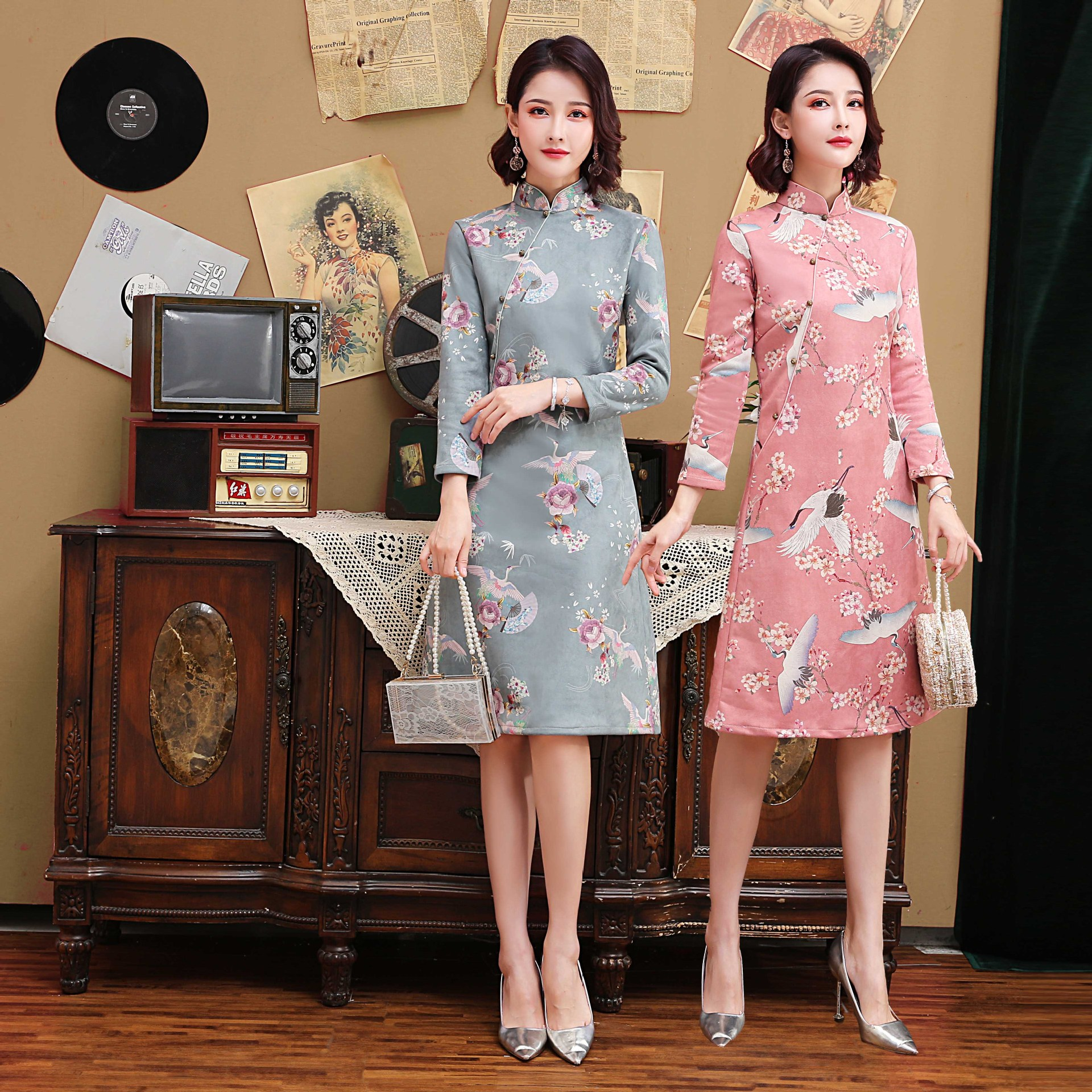 Pink Oversize 3XL New Arrival Vintage Half Sleeve Suede Cheongsam Sexy Women Formal Short Dress Embroidery Mandarin Collar Qipao