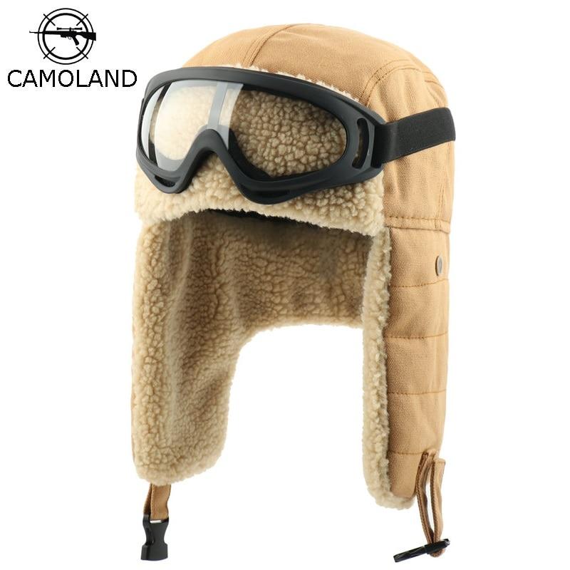 Winter Bomber Hats Earflap Russian Ushanka With Goggles Men Women's Trapper Pilot Hat Faux Berber Fleece Thermal Snow Caps