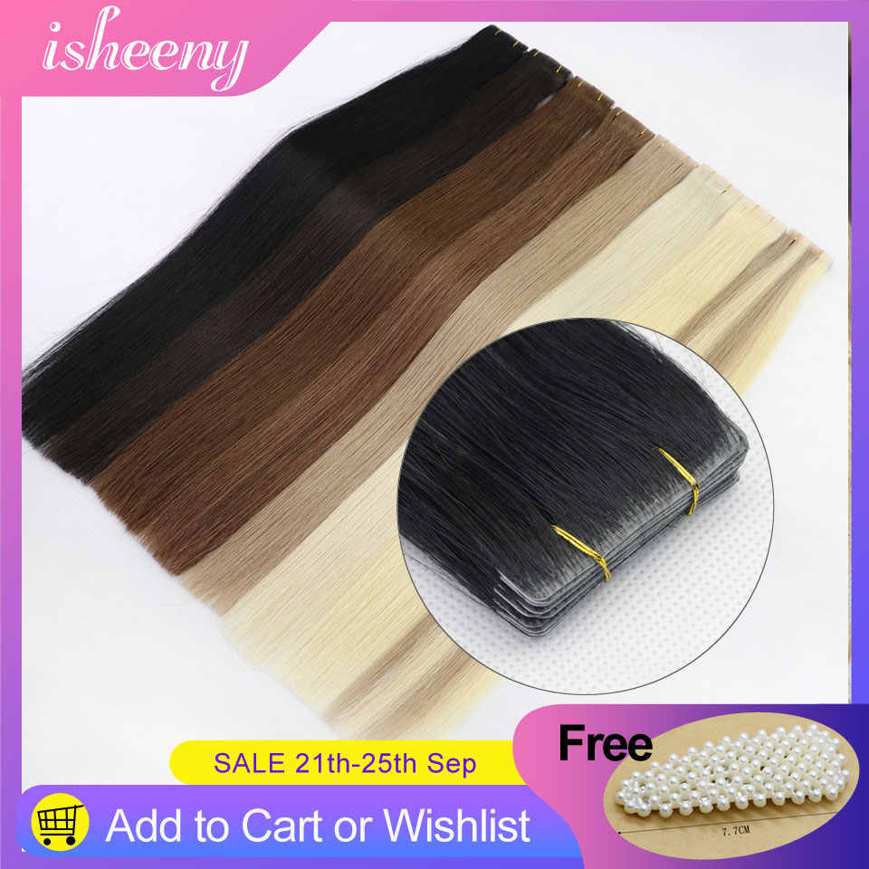 """Isheeny Straight PU Skin Weft Hand Tied Tape In Adhesives Remy Human Hair Extensions 18"""" 2g/pc 40g/pack Seamless Skin Weft Hair"""