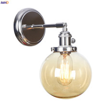 IWHD Amber Glass Ball Wall Lights For Home Bedroom Mirror Stair Switch Nordic Modern LED Wall Lamp Apliques Luz Pared Wandlamp iwhd golden led wall light bathroom bedroom glass ball wall lamp modern sconce led stair lights lamparas de pared