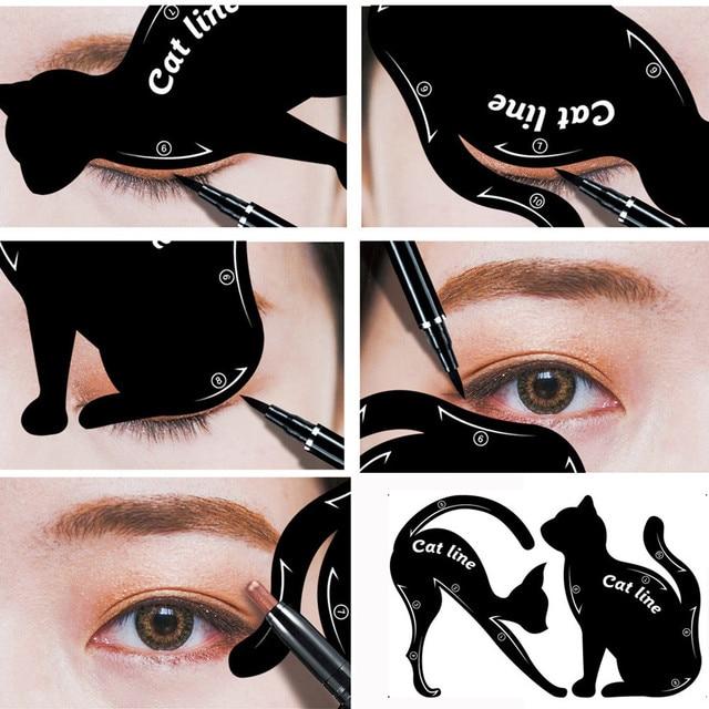 2Pcs Women Cat Line Pro Eye Makeup Tool Eyeliner Stencils Template Shaper Model Eyebrow Guide Makeup Tools 4