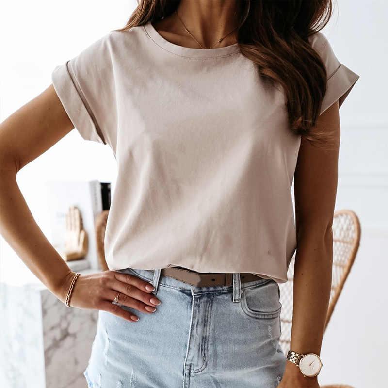 Zomer Losse Zwarte Vrouwen T-shirts Effen Witte O-hals Korte Mouw Tops Vrouwelijke 2020 Nieuwe Casual Streetwear Lady Tshirts Mode