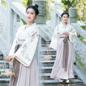Image 1 - Traditional Japanese Kimono Woman Retro Floral Fashion Haori Clothing Set Spring Oriental Party Photography Clothes for Girls