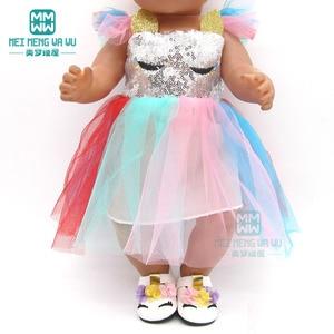 Image 4 - בגדי בובת שמלת פאייטים נעלי fit 43 45cm תינוק צעצוע חדש נולד בובת ואמריקאי בובת אבזרים ילדה של מתנה
