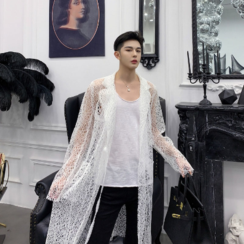 Men summer hollow out lace sexy long shirt nightclub hip hop punk stage costume women vintage mesh see-through blouse cloak