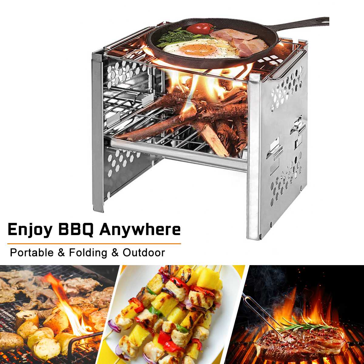 Portable Durable Folding Stainless Steel BBQ Grill Barbecue Stove Outdoor Picnic Camping BBQ Grill with Storage Bag