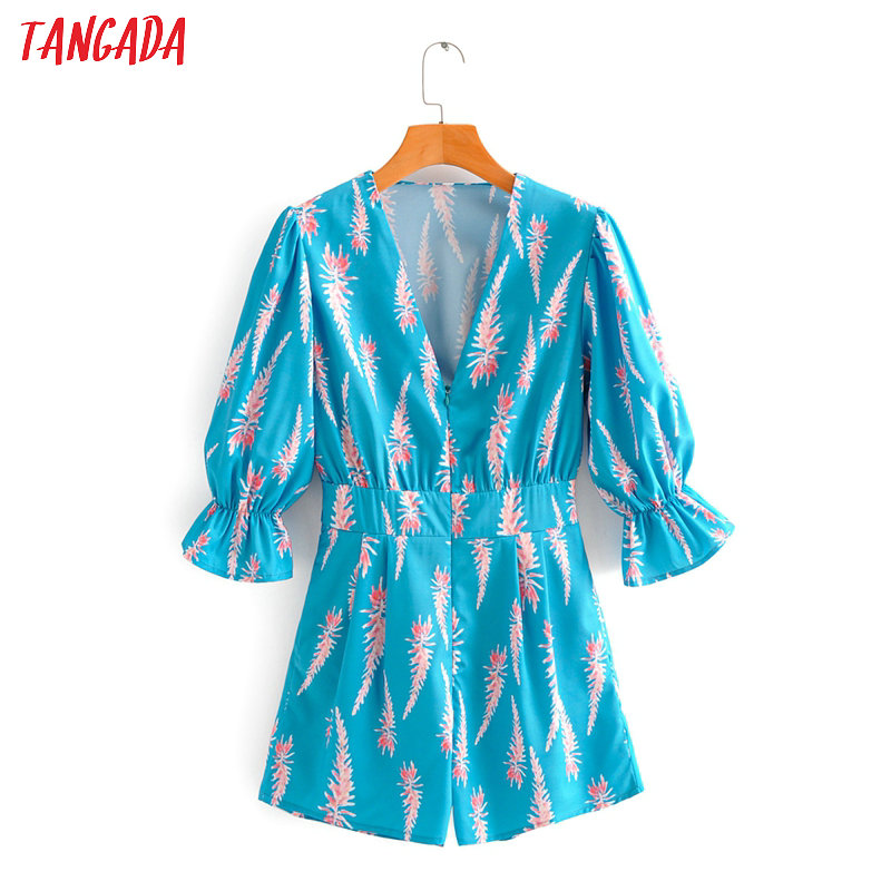Tangada Fashion Women Blue Print Summer Playsuit Back Zipper Short Sleeve Female Sexy Beach Playsuit 2F45
