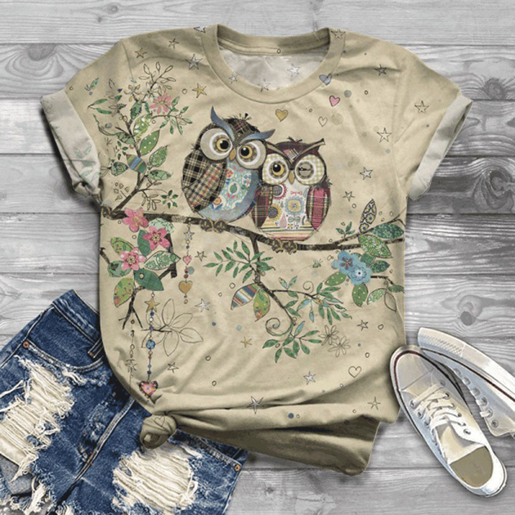 Straightforward Plus Size Women Short Sleeve 3d Animal Printed Lovely Owl O-neck Tops Tee Blouse Large Size Женская блузка Blusa Mujer