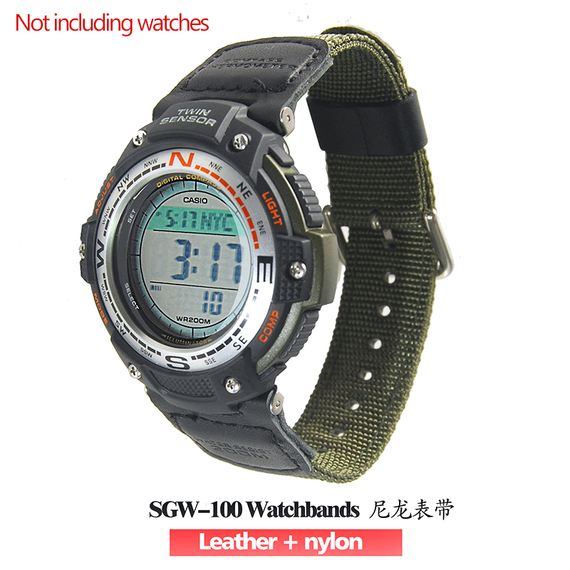 Military Green Nylon + Leather Watchbands Waterproof Strap Replacement For Casio SGW-100 Driving Sport Watch Accessories SGW100