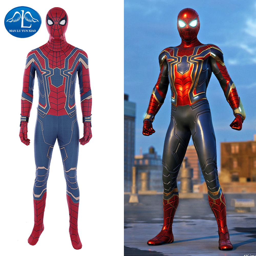 Manluyunxiao Spiderman Cosplay Marvel Avengers Infinity War Peter Parker Jumpsuit Halloween Costumes For Men Adult