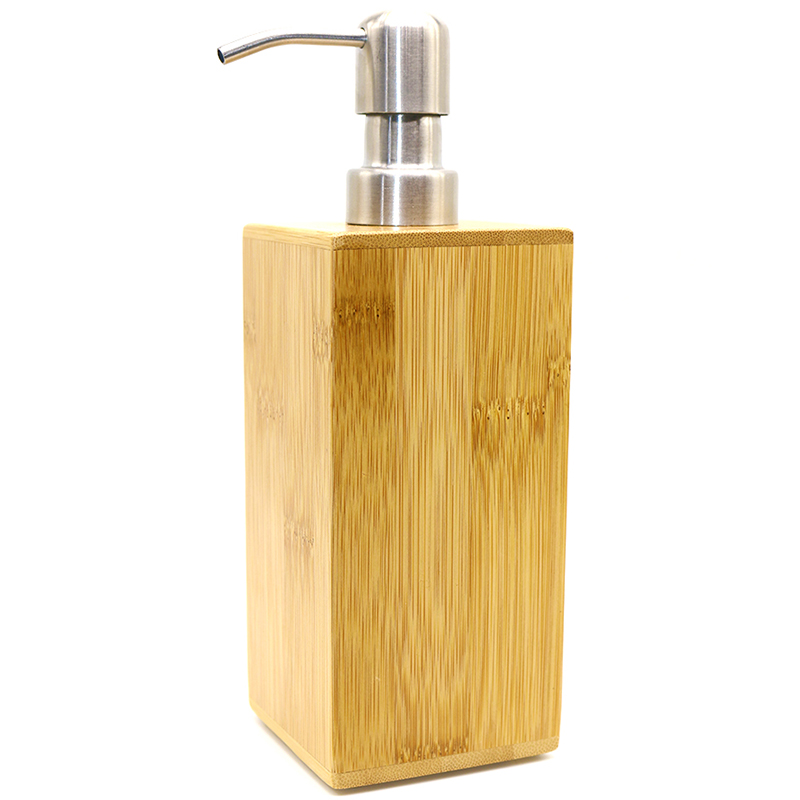 Bamboo Liquid Pump Soap Automatic Refillable Bottles Lotion Dispenser Hand-Washing Bottle For Bathroom