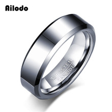 Ailodo Simple Fashion 100% Tungsten Carbide Rings For Men 6MM Classic Wedding Bands Tungsten Rings Jewelry Gift Never Rust LD315 6mm black tungsten rings for men silver color celtic dragon blue background wedding rings sets fashion jewelry