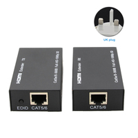 Home RJ45 Ethernet Port HDMI Extender Adapter Black 1080P Metal 60m Extension LAN Conversion Receiver Transmitter CAT6