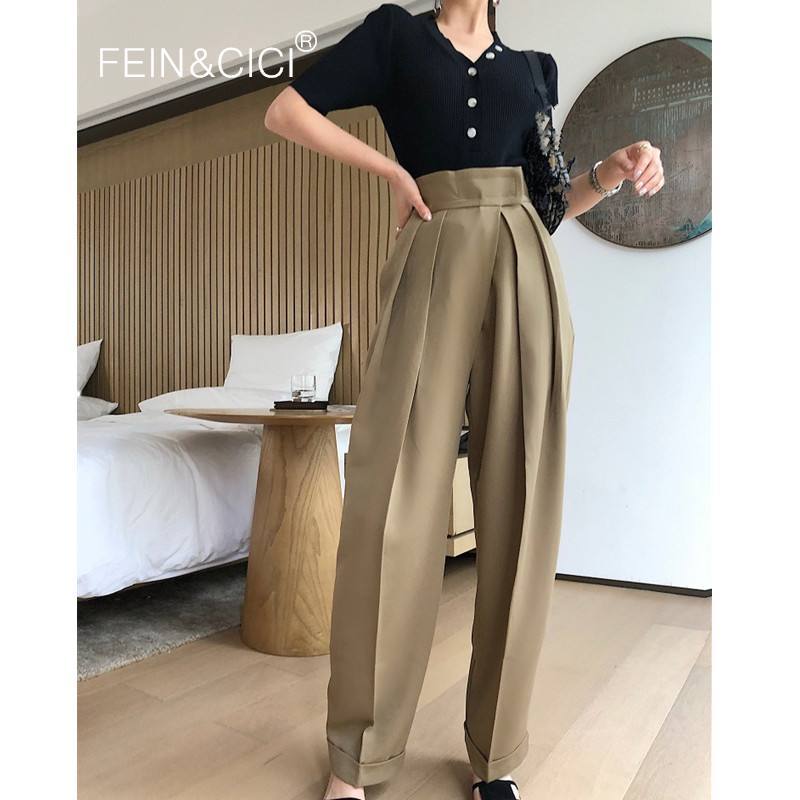 Wide Pencil Pants 2019 New Ins Chic Fashion Women Female Casual Loose Wide Palazzo Long Pants High Wasit Quality Khaki Black