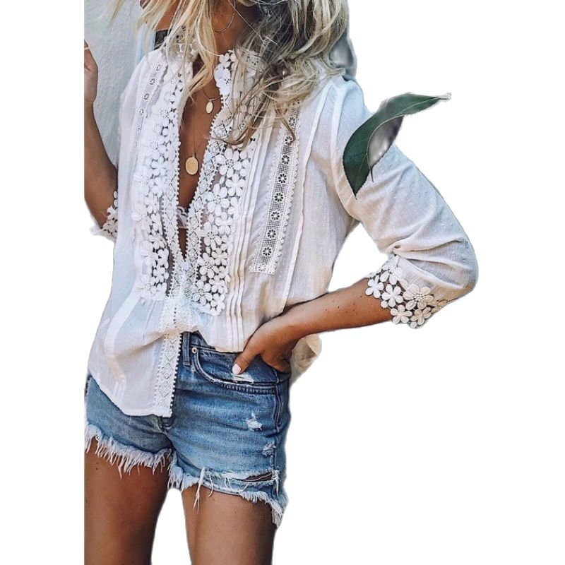 Summer White Casual Fashion Three-quarter Sleeve Beach Top Women's Clothing  Shirts for Women A148