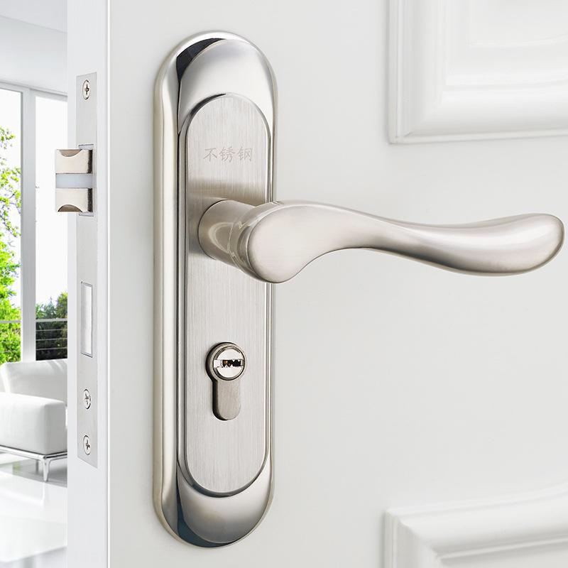 European Style New Style Stainless Steel Bearing Door Lock Bedroom Handle Lock Indoor Lock Wooden Door Lock Wholesale