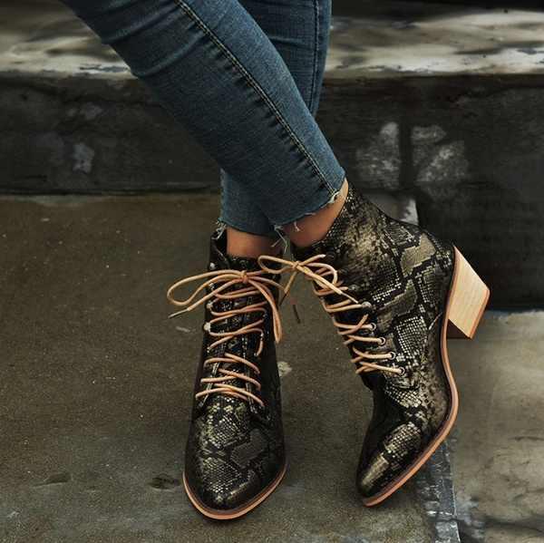 ข้อเท้าสตรีรองเท้าบูทเซ็กซี่ Lace Up รองเท้าผู้หญิงงูลาย Med Heel ผู้หญิงรองเท้าสแควร์ส้นฤดูหนาวรองเท้า Retro ผู้หญิง martin Boots