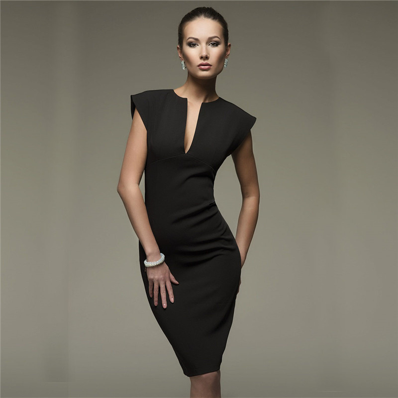 2019 Autumn <font><b>Sexy</b></font> Pencil Fashion Women Elegant Solid Sleeveless <font><b>Bodycon</b></font> V-Neck <font><b>Club</b></font> Party <font><b>Dresses</b></font> Vestido image