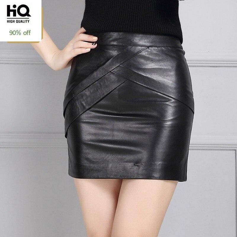 High Waist Wrap Skirts Elegant Office Lady Zipper A-Line Mini Skirts Fall Winter Genuine Leather Solid Black Skirts Plus Size