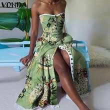 Kobiety moda sukienka kwiatowe w stylu boho drukuj Party długa maksi sukienki 2021 VONDA plaży sukienka letnia na święta Vestido Plus rozmiar tanie tanio CN (pochodzenie) Lato Poliester Asymetryczne Osób w wieku 18-35 lat Summer Sleeveless Printed Dress Bez ramiączek Bez rękawów
