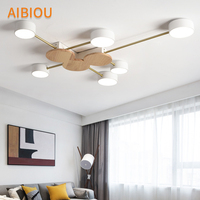 AIBIOU Nordic Style Designer LED Metal Ceiling Lights For Living Room Modern Surface Mounted Wooden Bedroom Lighting Fixtures