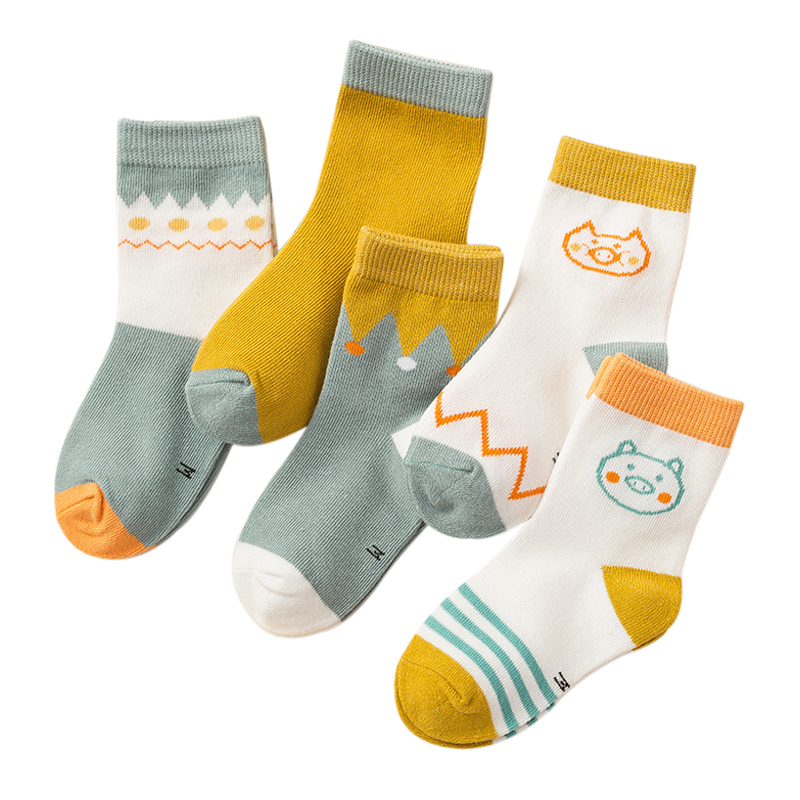 5 Pairs Kids Autumn Socks Winter Children Cotton Letter Baby Girls Boys Fashion Socks Size 1 2 3 4 5 6 7 8 9 Year