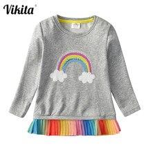 VIKITA kız t shirt uzun kollu pullu t shirt kızlar için çocuklar bebek kız Unicorn üstleri çocuk pamuk t shirt gündelik giyim