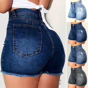 Модные женские джинсовые шорты с царапинами и высокой талией, женские джинсовые шорты для девушек, сексуальные повседневные узкие укорочен...