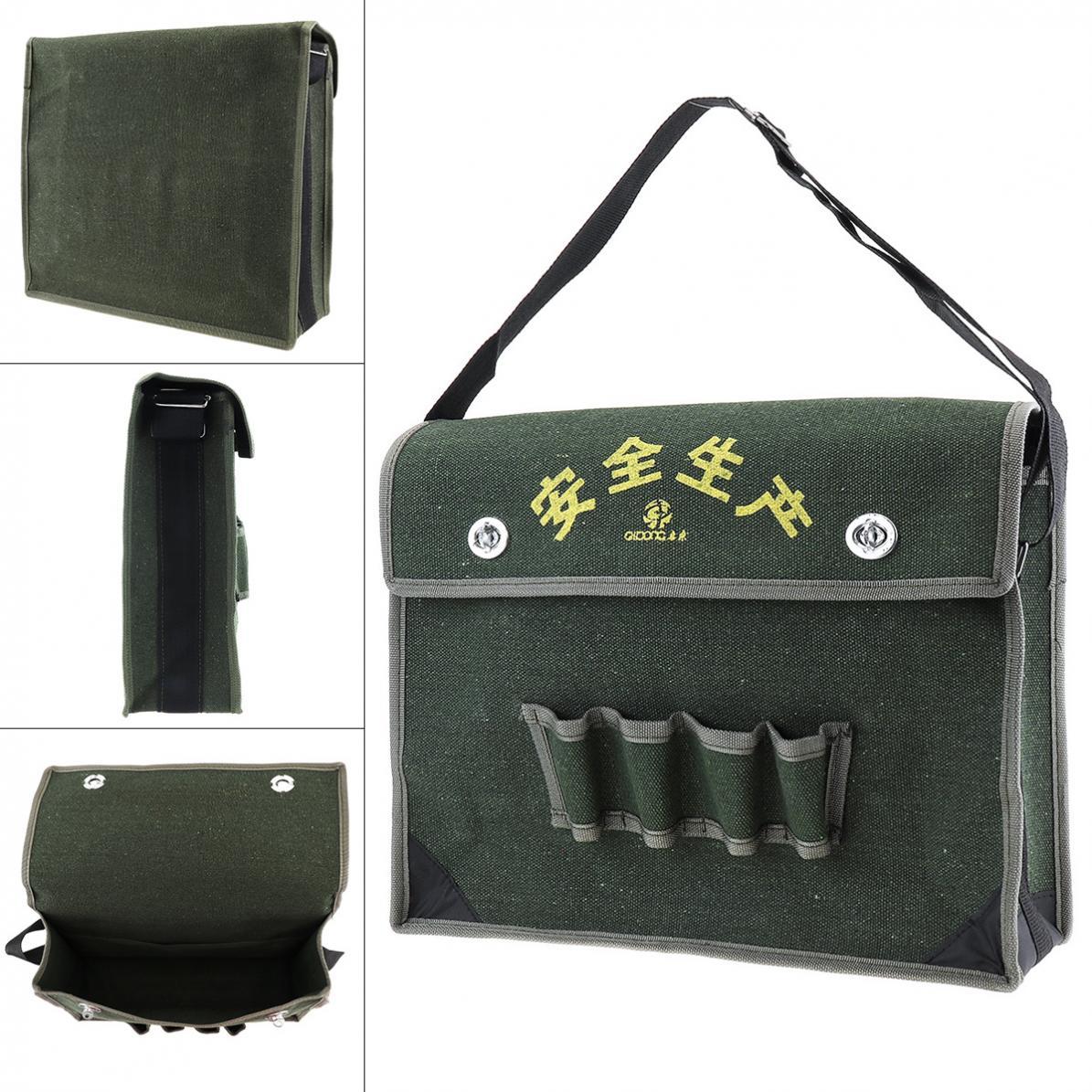 15.5 Inch 600D Oxford Cloth Waterproof Flip-type Single-shoulder Tool Bag 4 Holes 2 Pockets And Adjustable Single Hanging Strap