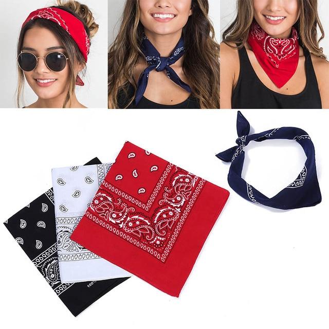Fashion Scarf Women Hair Accessories Linen Bandana Square Female Bandanas Headwear Rock Cool Girls Multi Paisley Headbands 4