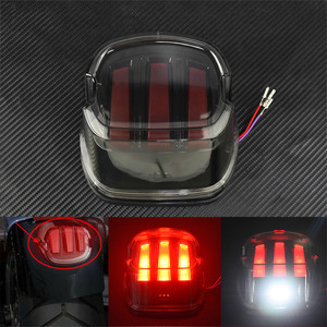 Image 2 - Motorcycle Red LED Tail Light Smoke/Chrome Lens Rear Brake Stop License Plate Lamp For Harley Softail Touring Dyna Sportster XL