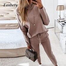 2020 outono inverno casual moda cor sólida de duas peças terno feminino elegante fora do ombro topos senhoras solto conjunto de camisola de renda